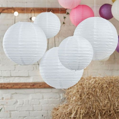 Boho Wedding White Paper Lanterns (5pk)